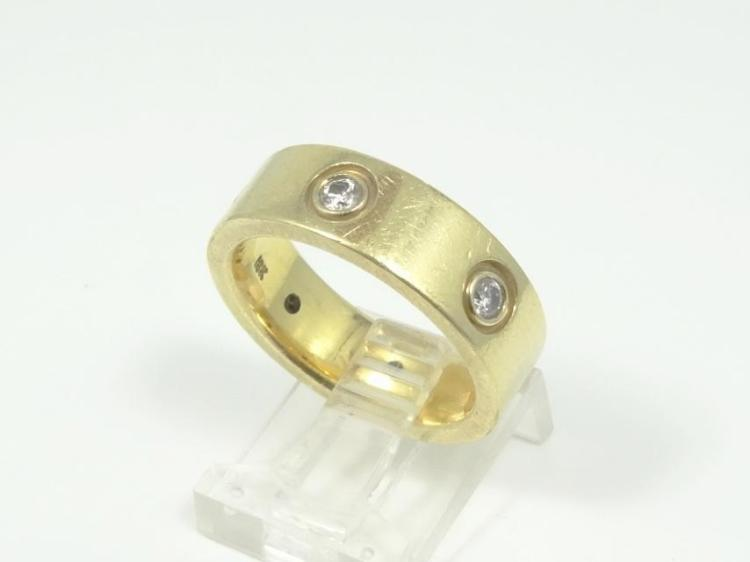 Cartier Style Solid 18K Yellow Gold & 0.60CTW Genuine SI1-SI2/G-H Diamond Ring
