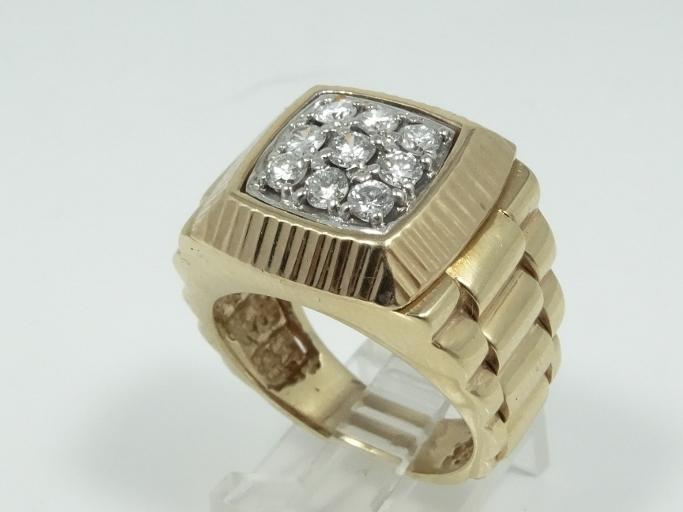 SOLID 18K Yellow Gold Men's Ring W/0.90CTW Genuine SI1-SI2/G-H Diamonds (19.5 Grams)