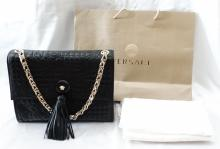 Versace Vanitas Black Lamb Skin Crossbody/Shoulder Bag W/Gold Tone Chain, Medusa Medallion, & Fringe Tassle *Brand New W/Tags, Versace Dust Cover & Shopping Bag* GUARANTEED AUTHENTIC