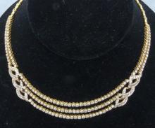 8.05ctw Genuine VS1-VS2/F-H Genuine Diamond & Solid 18K Yellow Gold Tiered