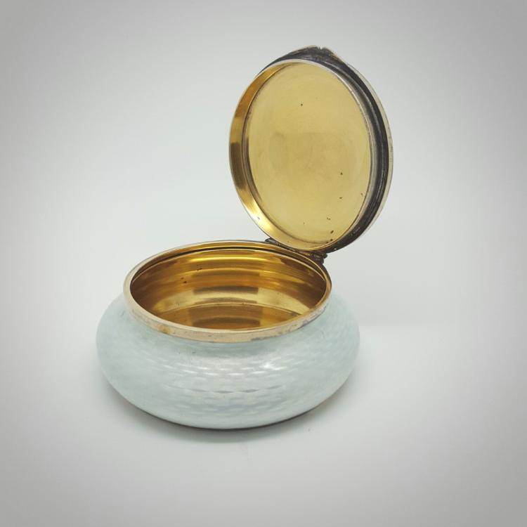 K Faberge White Opal Guilloche Enamel Solid 84 Russian Silv