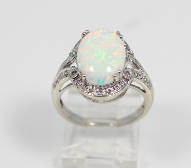 14mm aaa australian opal solid 14k white gold ring w