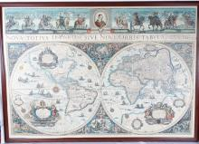Framed Colored Engraved 17th C. World Map by Willem Janszoon Blaeu