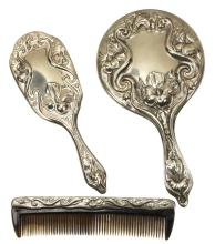 Marilyn Monroe Brush Containing Blonde Hairs, Comb & Hand Mirror Used by Allan Snyder on Marilyn's Film Sets W/COA