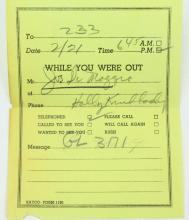 Marilyn Monroe Personal Phone Message From Joe DiMaggio Found Inside One of Her Books W/COA