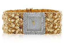 Liberace's Personally Owned 6.00ctw SI1-SI2/G-H Diamond & Solid 14K Yellow Gold Watch W/COA