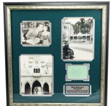 Walt Disney Autograph in Exhibit Quality Framed Presentation W/Vintage Photographs at Disneyland