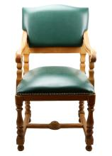 Titanic Prop Wood & Green Leather Effect 1st Class Dining Chair