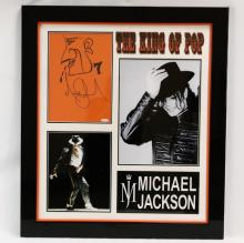 Michael Jackson Signed Sketch in Framed Presentation W/Photographs, COA, & Documentation by Forensic Document Examiner
