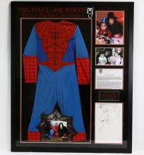Michael Jackson's Family Spiderman Picture Frame & Prince Michael's Spiderman Suit in Framed Presentation W/Photographs & COA