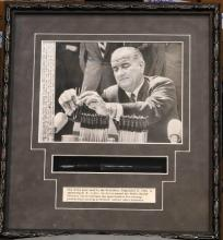 Lyndon B. Johnson's Presidential Fountain Pen Used Sept. 4, 1964 in Framed Presentation