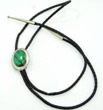 Navajo Ben J. Chavez Handmade Solid Sterling Silver & Braided Black Leather Bolo Tie W/35mm Malachite Pendant *Signed*