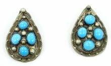 Native American Handmade Solid Sterling Silver & Blue Gem Turquoise 1.25