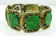 Antique Chinese Solid Silver 27mm Wide 7-Panel Hinged Bracelet W/(5) Jade Medalions & Ornate Wire Work