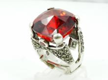 Solid Sterling Silver & 18mm Faceted Red Gemstone W/Genuine Ruby & Marcasite Accents