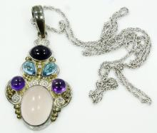 Designer Sajen Solid Sterling Silver, Rose Quartz, Amethyst, Blue Topaz & Blue Iolite Pendant W/Intricate Indonesian Designs on 20