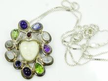 Designer Sajen Solid Sterling Silver & Carved Stone Goddess Convertible Pendant W/Amethyst, Peridot, Rainbow Moonstone, Iolite, & Garnet Accented Headdress on 30