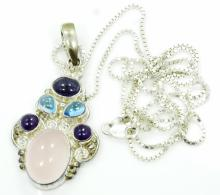 Designer Sajen Solid Sterling Silver, Rose Quartz, Amethyst, Blue Topaz & Blue Iolite Pendant W/Intricate Indonesian Designs on 30