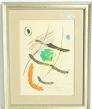 Joan Miro (Spanish 1893-1983) Color Etching Gift to: Chagall Family Signed, Personalized & Numbered 38/225 in Frame