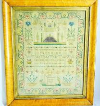 Early 19th C. Colonial Embroidered Memorial Sampler Dated 1827 W/Flowered Border in Heavy Birdseye Maple Frame