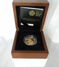 Royal Mint 2014 Sovereign Limited Edition Proof First Strike Gold Coin in Original Box W/COA (ONLY 150 OF THESE PRESENTATIONS MADE!!!)