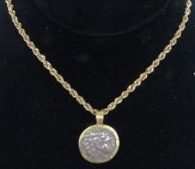 Ancient Grecian Coin in Solid 14K Yellow Gold Bezel on 18