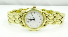 Chaumet Paris Elysees Solid 18K Yellow Gold Ladies Watch W/Faceted Edge Sapphire Crystal Model: 229278
