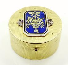 Cartier New York Art Deco Solid 14K Yellow Gold & Platinum Round Box W/Rose-Cut Diamonds, Rubies & Guilloche Enamel