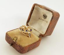 "Karl Faberge ""56"" Gold 0.90ctw Mine-Cut Diamond & Royal Blue Enamel Ring (One of a Kind) in Original Box"