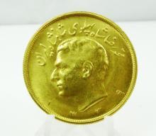 1339 (1960) Iranian 5 Pahlavi Mohammad Reza Pahlavi Solid 90% Gold Coin in Plastic Capsule (10% BP)