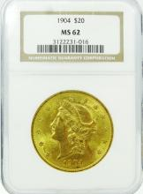 1904 American Liberty Head Double Eagle $20 Solid Gold Coin Graded MS62 in NGC Slab (10% BP)