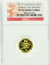 2012P Austrailian $15 1/10th Ounce Solid .999 Fine Gold Year of the Dragon Coin Graded PF70 Ultra Cameo in NGC Slab