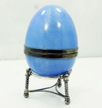 Victor Mayer Faberge Made in Paris Solid Sterling Silver & Powder Blue Guilloche Enamel Egg on Silver Base *SIGNED/RARE*