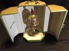 Theo Faberge Limited Edition 24k Gilt Gold Over Solid Sterling Silver & Cut Crystal Egg W/Ruby Red Crystal Olympic Flame Finial & Painted Red Enamel Accents Signed & Numbered 120/500 in Original Gilt Octogonal Presentation Box