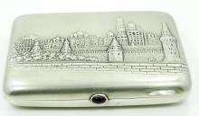 Early 20th C. Russian Solid Silver & Gilt Gold Cigarette Case W/High Relief