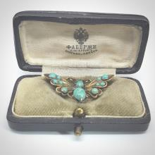 """Faberge """"84"""" Silver W/Gold Plate & Russian Turquoise Brooch in Box"""
