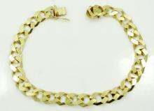 Men's European Designer Solid 14K Yellow Gold 8mm Cuban Link Bracelet *Has Maker's Mark*
