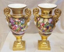 Barre Sevres Paris C. 1830 Pair of Gold Ground Vases Painted With Flowers & Fruit (Previously Sold at Christie's 10/29/2002)