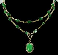 30.00ctw Genuine Emerald & Solid 10K Yellow Gold 27