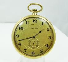 1915 Waltham Solid 14K Yellow Gold 17J Open Face Pocket Watch (Only 24,500 Produced) WORKING