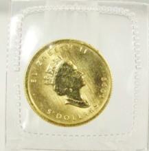1999 $5 Elizabeth II Canadian Maple Leaf 1/10 OZ. .9999 Gold Coin in Sealed Plastic Sleeve