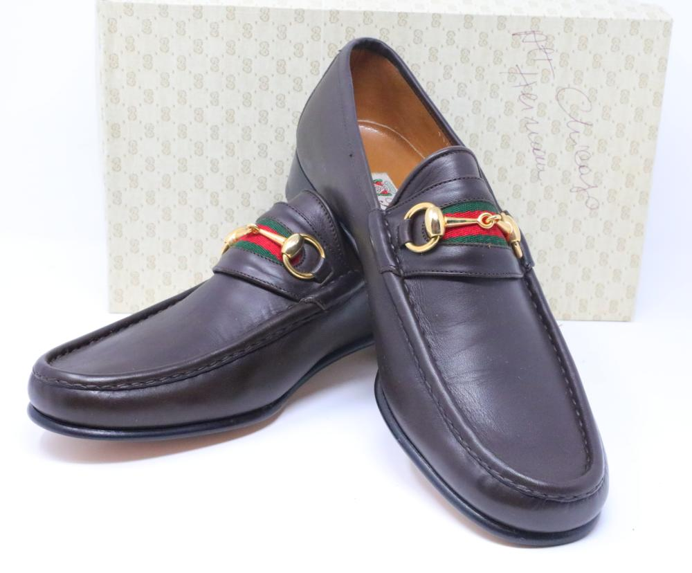 4755405c86cba Gucci Vintage 1980s Brown Leather Men's Horsebit Web Loafers New in ...