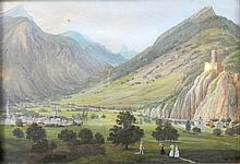 DUBOIS Jean, 1789-1849 [CH]. - Le château de la Bâtiaz et Martigny,