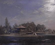 """GIRAUD Sébastien Charles, 1819-1892 [FR]. """"St-Gratien, résidence de la princesse Mathilde au bord du Lac d'Enghien"""", 1837,"""