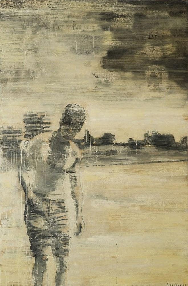 DELIGNE Julien, *1959 [FR-CH]. Silhouette masculine dans un paysage, (20)06,  technique mixte sur panneau (180 x 120 cm).