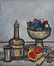 LATHION Luc, 1931-2013 [CH]. Nature morte, (19)75, huile sur toile (46 x 38 cm).