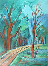 LATHION Luc, 1931-2013 [CH]. Sentier en forêt, (19)76, huile sur toile (41 x 30 cm).