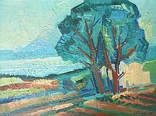 LATHION Luc, 1931-2013 [CH]. Paysage, (19)76, huile sur toile (30 x 40 cm).