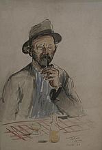 COUDON Roland, 20 > [CH]. Homme à la pipe, (19)49,