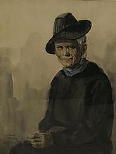 COUDON Roland, 20 > [CH]. Portrait de vieille femm
